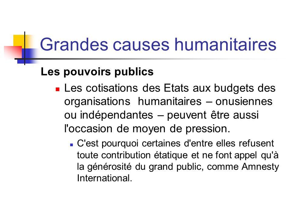 Grandes causes humanitaires Les pouvoirs publics Les cotisations des Etats aux budgets des organisations humanitaires – onusiennes ou indépendantes –
