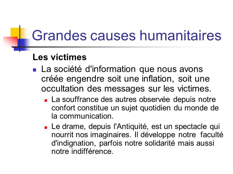 Grandes causes humanitaires Les victimes La société d'information que nous avons créée engendre soit une inflation, soit une occultation des messages