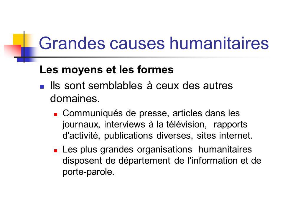 Grandes causes humanitaires Les moyens et les formes Ils sont semblables à ceux des autres domaines. Communiqués de presse, articles dans les journaux