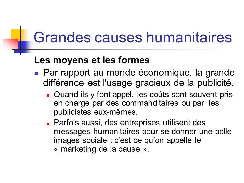 Grandes causes humanitaires Les moyens et les formes Par rapport au monde économique, la grande différence est l'usage gracieux de la publicité. Quand