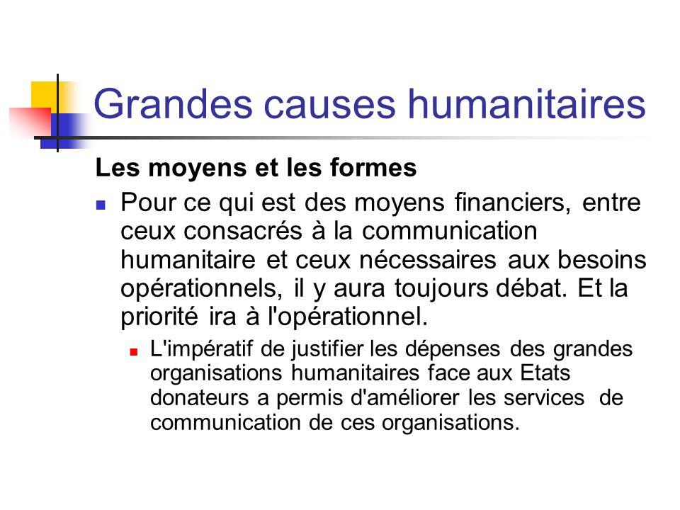 Grandes causes humanitaires Les moyens et les formes Pour ce qui est des moyens financiers, entre ceux consacrés à la communication humanitaire et ceu
