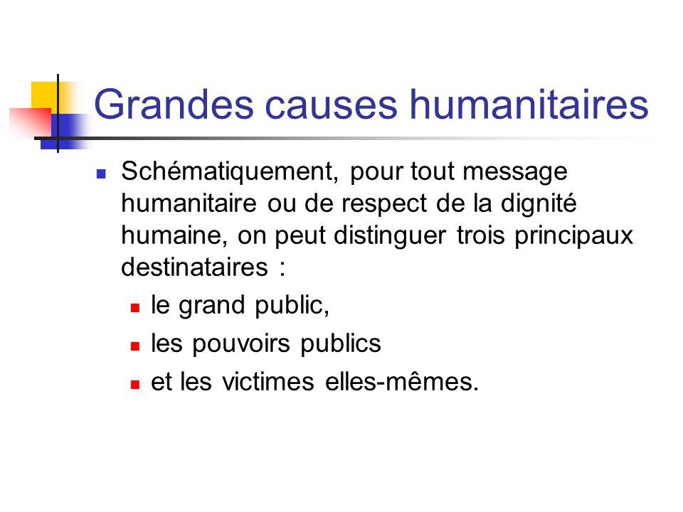 Grandes causes humanitaires Schématiquement, pour tout message humanitaire ou de respect de la dignité humaine, on peut distinguer trois principaux de