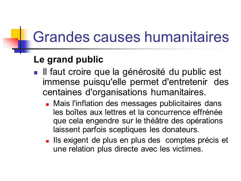 Grandes causes humanitaires Le grand public Il faut croire que la générosité du public est immense puisqu'elle permet d'entretenir des centaines d'org