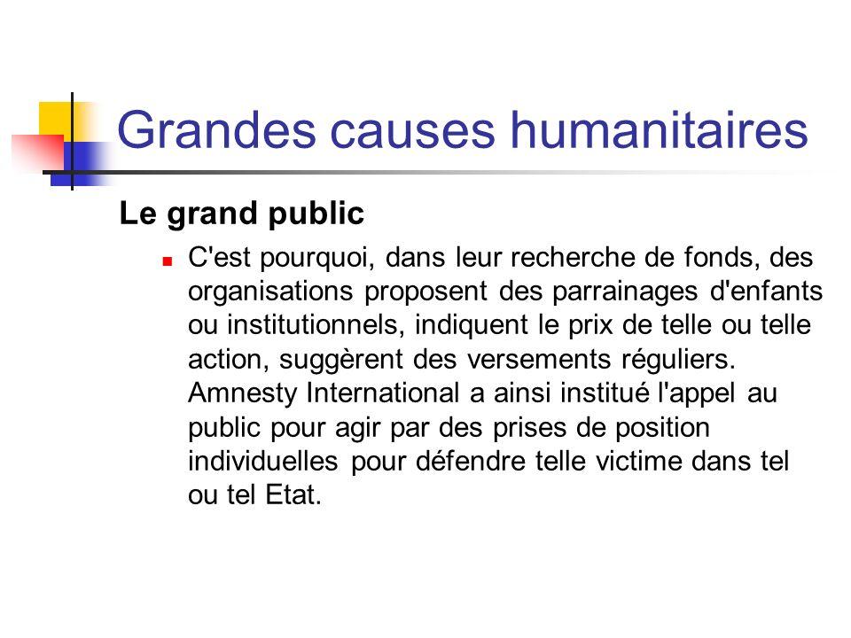 Grandes causes humanitaires Le grand public C'est pourquoi, dans leur recherche de fonds, des organisations proposent des parrainages d'enfants ou ins