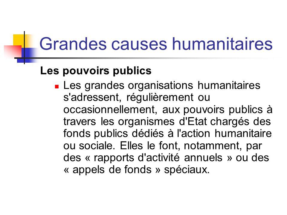 Grandes causes humanitaires Les pouvoirs publics Les grandes organisations humanitaires s'adressent, régulièrement ou occasionnellement, aux pouvoirs