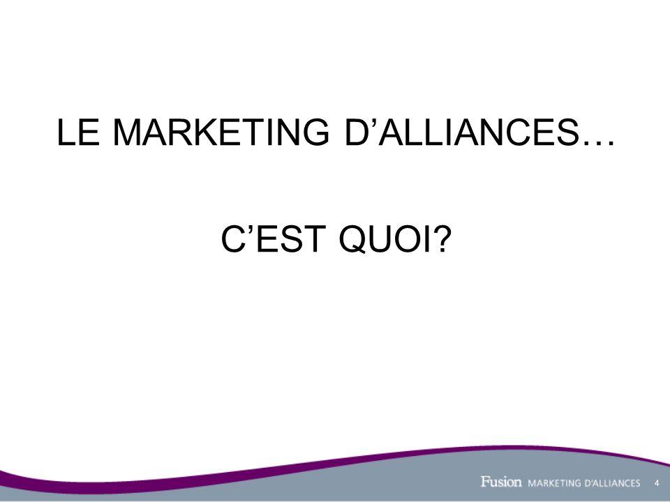 5 Le marketing dalliances, cest la création et la communication de partenariats stratégiques qui visent à contribuer à la réputation favorable dune marque.