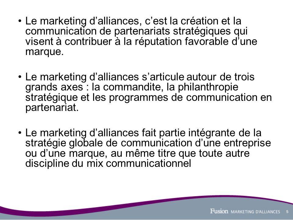 5 Le marketing dalliances, cest la création et la communication de partenariats stratégiques qui visent à contribuer à la réputation favorable dune ma