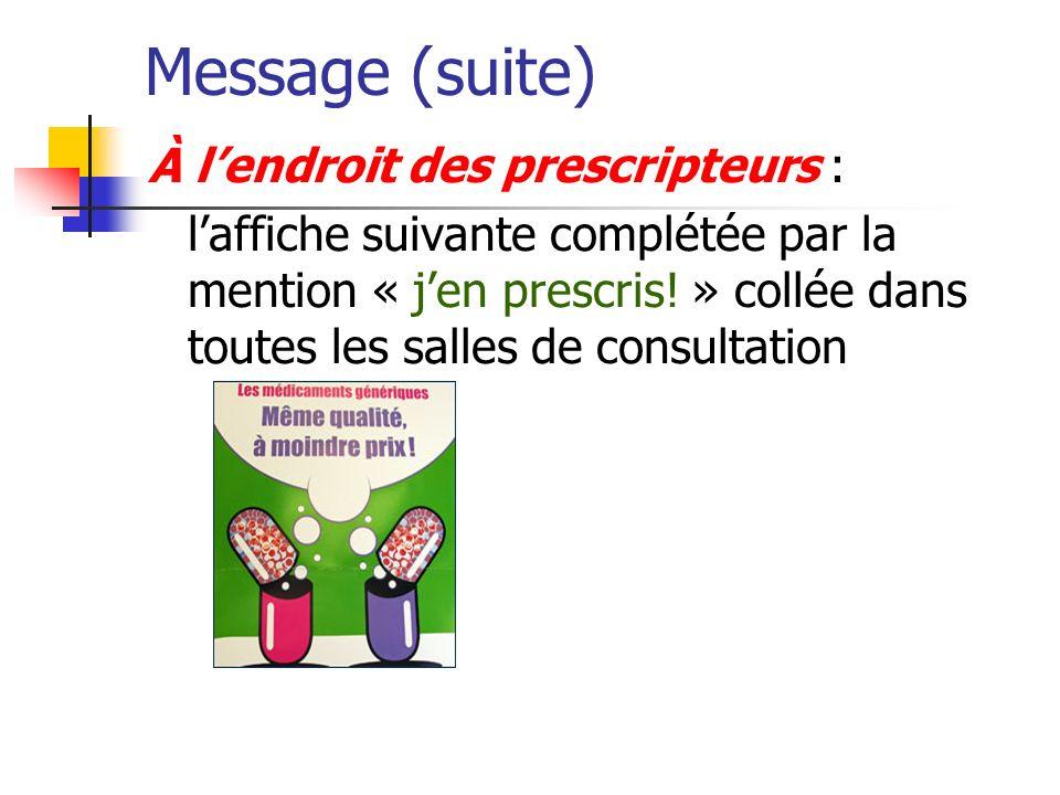 Message (suite) À lendroit des prescripteurs : laffiche suivante complétée par la mention « jen prescris! » collée dans toutes les salles de consultat