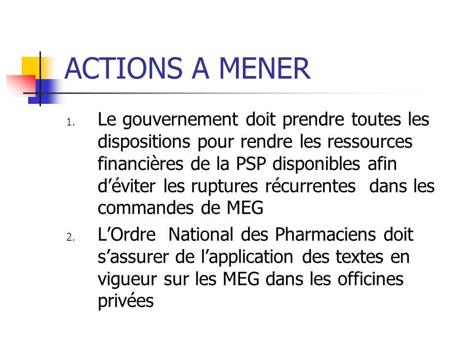 ACTIONS A MENER 1. Le gouvernement doit prendre toutes les dispositions pour rendre les ressources financières de la PSP disponibles afin déviter les