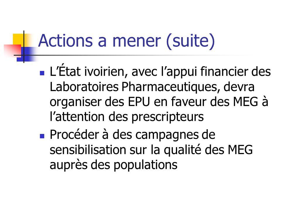 Actions a mener (suite) LÉtat ivoirien, avec lappui financier des Laboratoires Pharmaceutiques, devra organiser des EPU en faveur des MEG à lattention