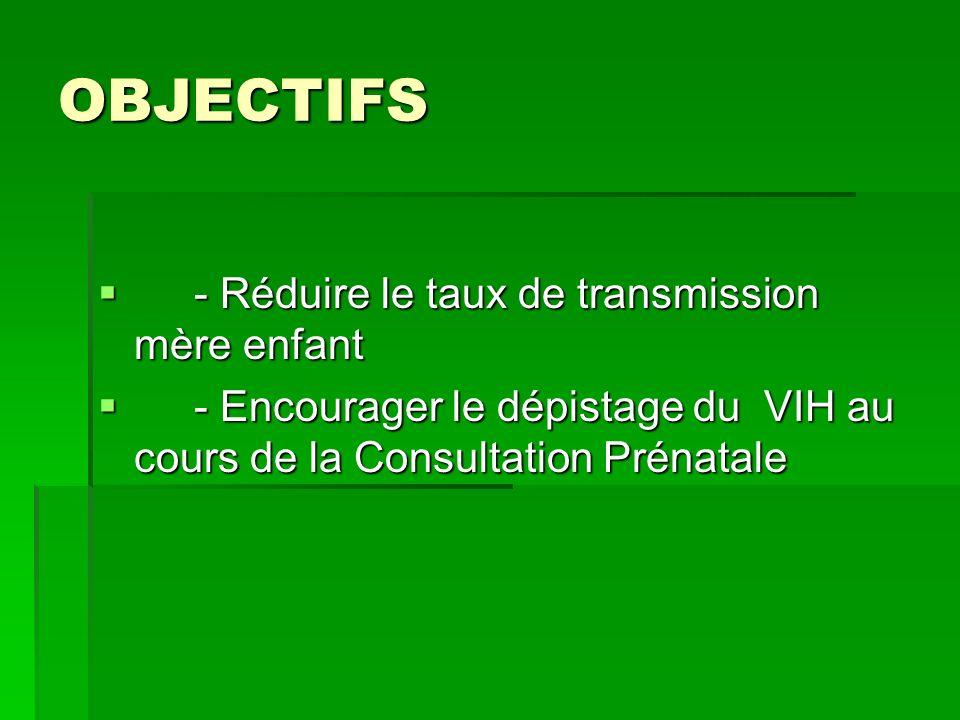 OBJECTIFS - Réduire le taux de transmission mère enfant - Réduire le taux de transmission mère enfant - Encourager le dépistage du VIH au cours de la Consultation Prénatale - Encourager le dépistage du VIH au cours de la Consultation Prénatale