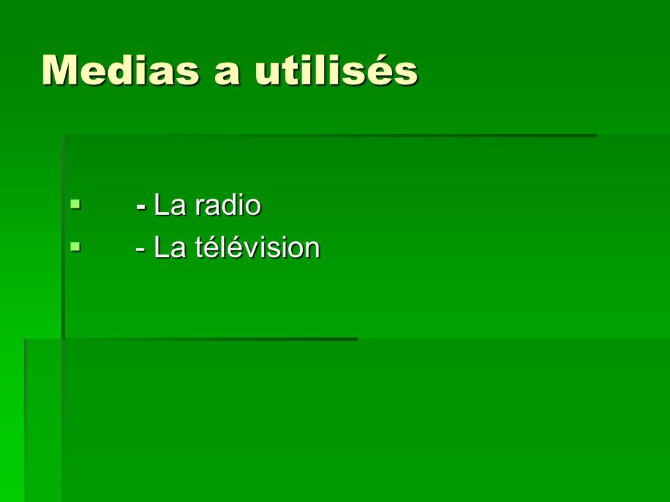 Medias a utilisés Medias a utilisés - La radio - La radio - La télévision - La télévision