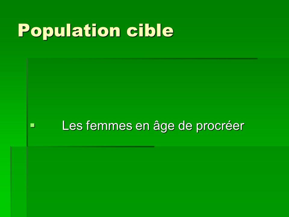 Population cible Population cible Les femmes en âge de procréer Les femmes en âge de procréer