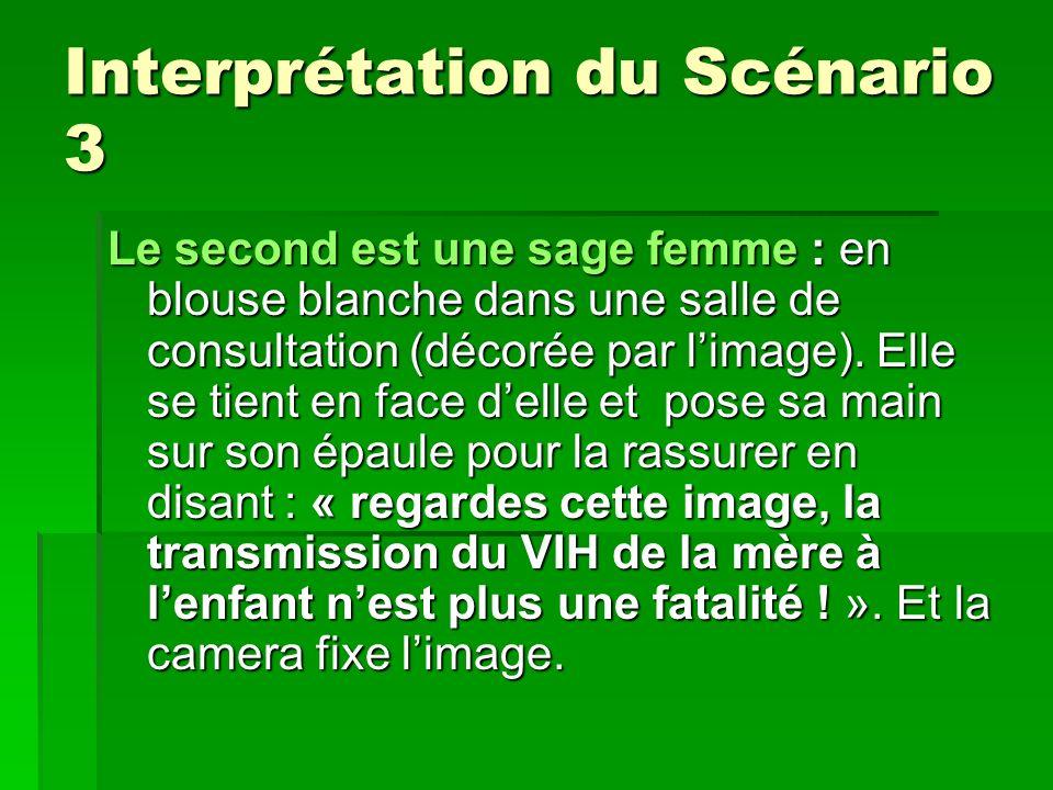 Interprétation du Scénario 3 Le second est une sage femme : en blouse blanche dans une salle de consultation (décorée par limage).