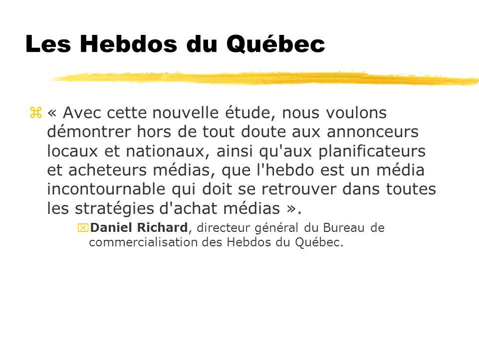 Les Hebdos du Québec z« Avec cette nouvelle étude, nous voulons démontrer hors de tout doute aux annonceurs locaux et nationaux, ainsi qu aux planificateurs et acheteurs médias, que l hebdo est un média incontournable qui doit se retrouver dans toutes les stratégies d achat médias ».