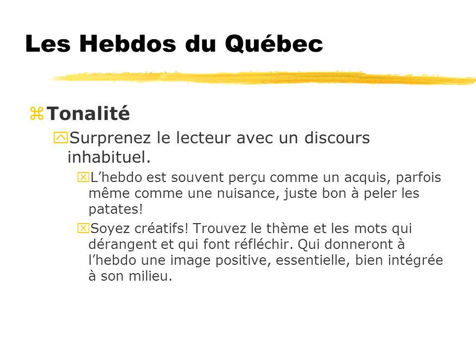 Les Hebdos du Québec zTonalité ySurprenez le lecteur avec un discours inhabituel.