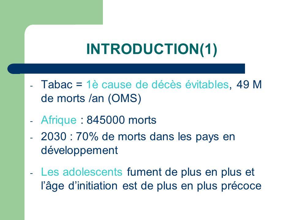 INTRODUCTION(1) - Tabac = 1è cause de décès évitables, 49 M de morts /an (OMS) - Afrique : 845000 morts - 2030 : 70% de morts dans les pays en dévelop