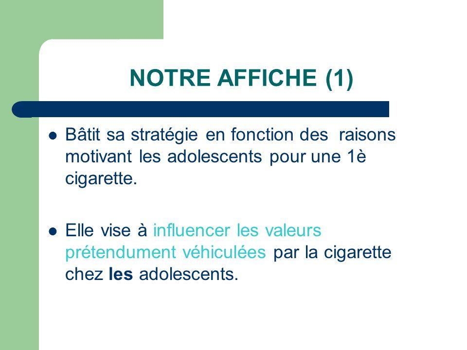 NOTRE AFFICHE (1) Bâtit sa stratégie en fonction des raisons motivant les adolescents pour une 1è cigarette. Elle vise à influencer les valeurs préten