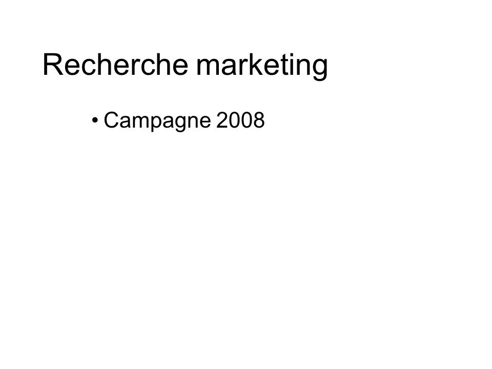 Recherche marketing Campagne 2008