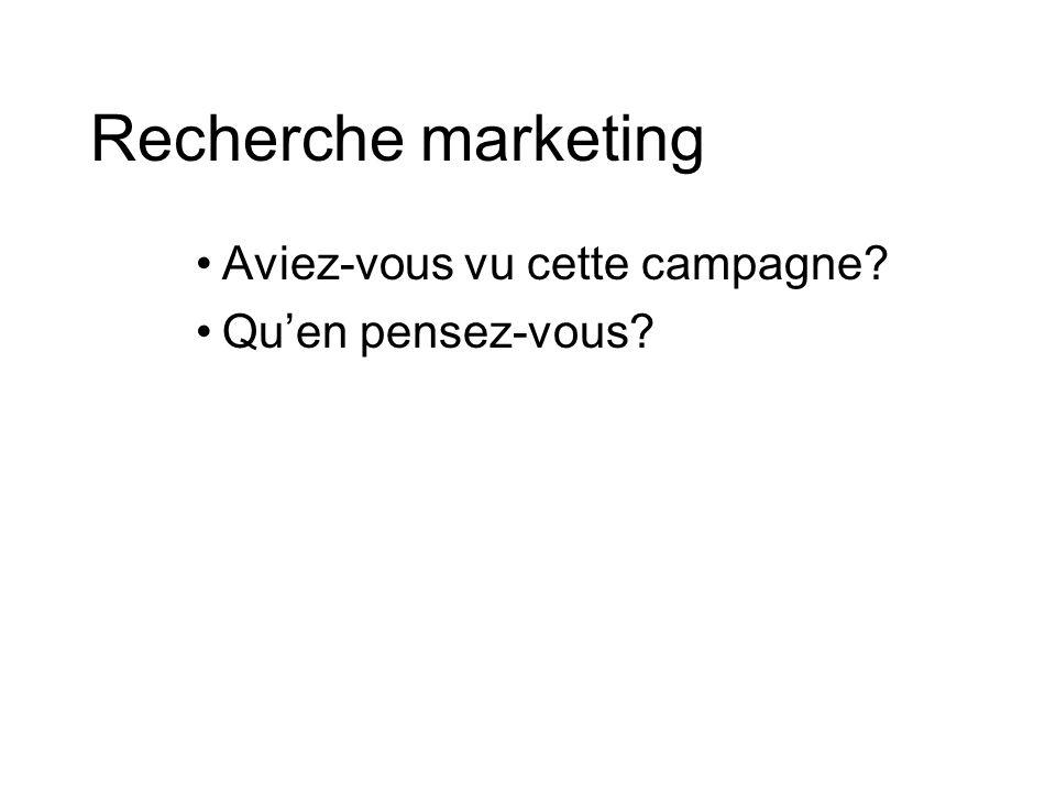 Recherche marketing Aviez-vous vu cette campagne Quen pensez-vous