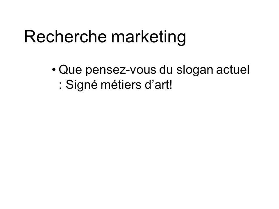 Recherche marketing Que pensez-vous du slogan actuel : Signé métiers dart!