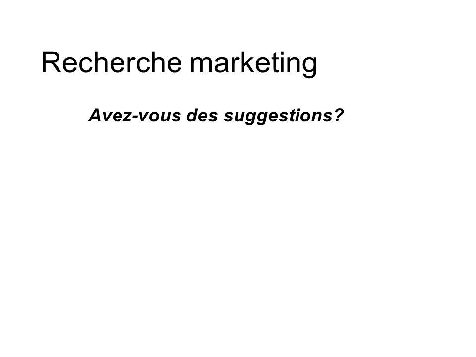 Recherche marketing Avez-vous des suggestions