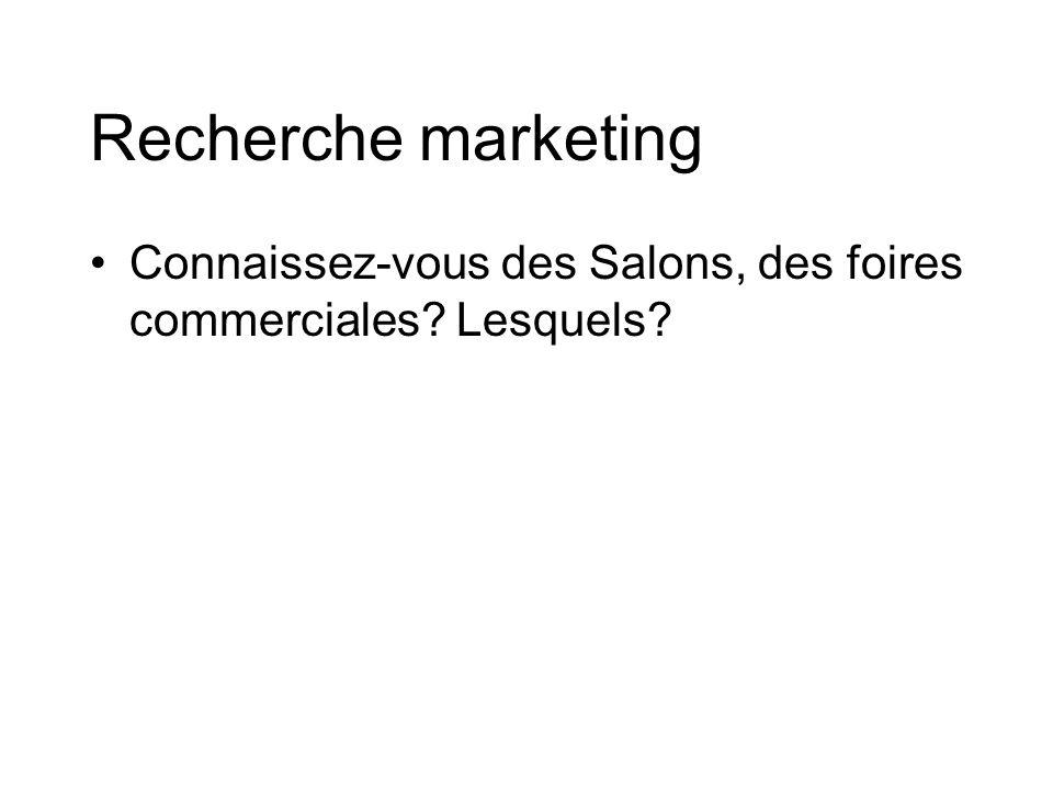 Recherche marketing Connaissez-vous des Salons, des foires commerciales Lesquels