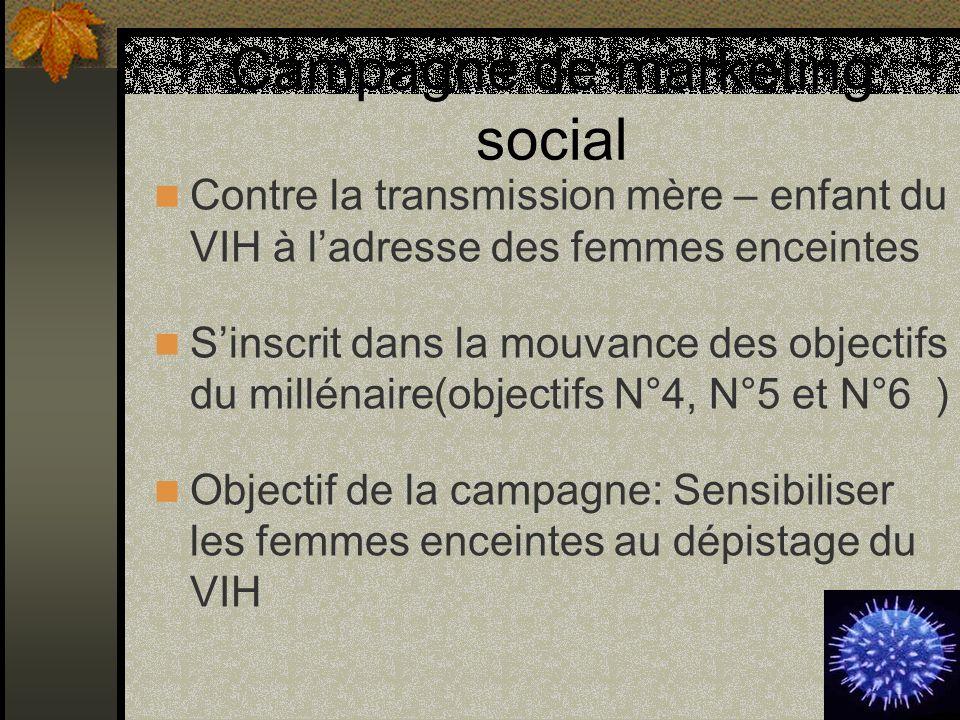 Campagne de marketing social Contre la transmission mère – enfant du VIH à ladresse des femmes enceintes Sinscrit dans la mouvance des objectifs du mi