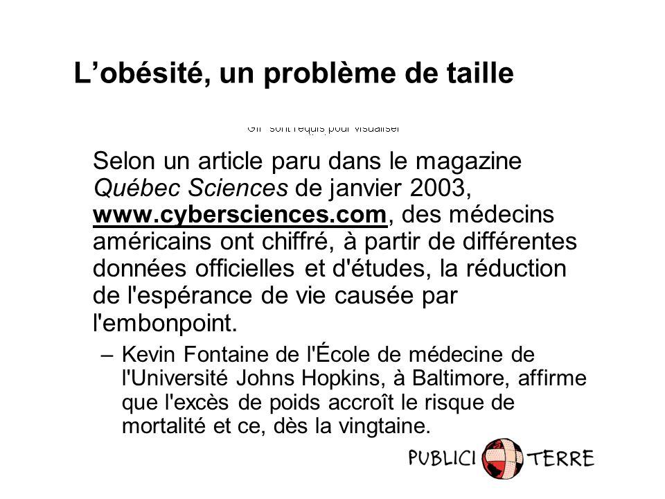 Selon un article paru dans le magazine Québec Sciences de janvier 2003, www.cybersciences.com, des médecins américains ont chiffré, à partir de différentes données officielles et d études, la réduction de l espérance de vie causée par l embonpoint.
