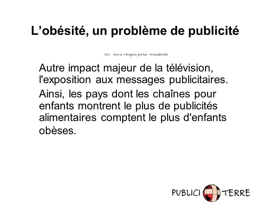 Autre impact majeur de la télévision, l exposition aux messages publicitaires.