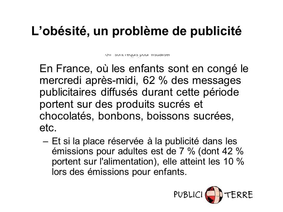 En France, où les enfants sont en congé le mercredi après-midi, 62 % des messages publicitaires diffusés durant cette période portent sur des produits sucrés et chocolatés, bonbons, boissons sucrées, etc.