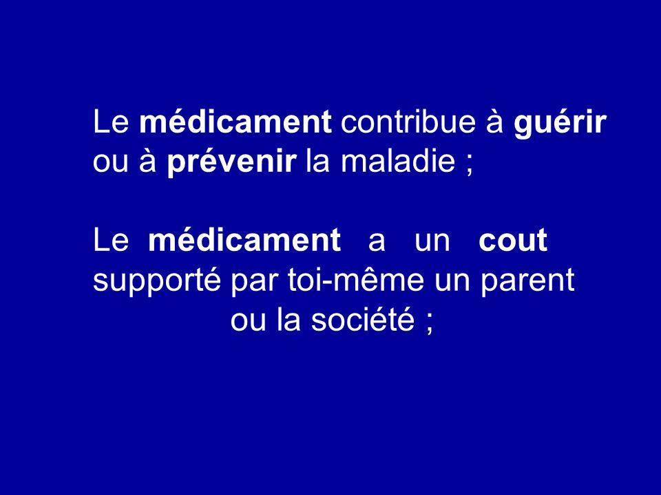 Le médicament est un produit particulier qui ne ressemble a aucun autre ; Le médicament obéit a des règles de fabrication et de gestion rigoureuses ; Campagne :