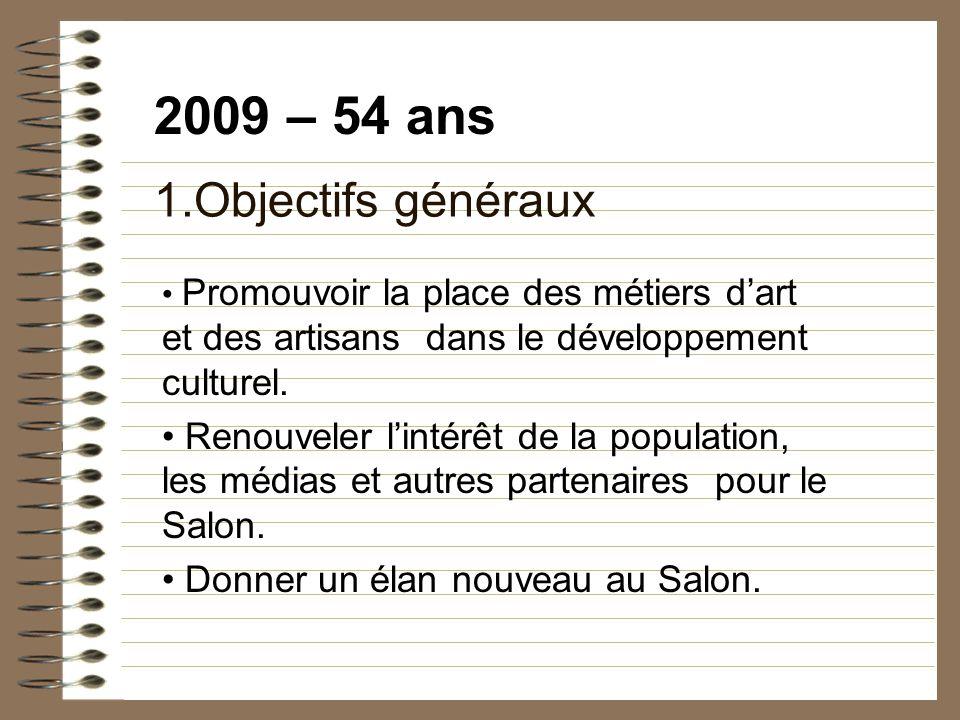 2009 – 54 ans 1.Objectifs généraux Promouvoir la place des métiers dart et des artisans dans le développement culturel.