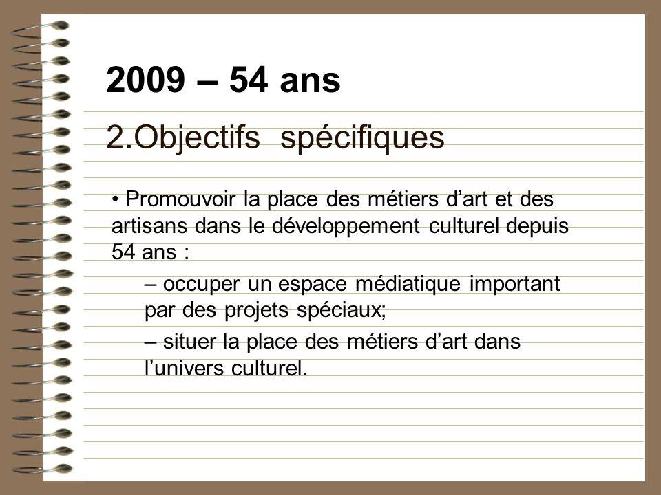 2009 – 54 ans 2.Objectifs spécifiques Promouvoir la place des métiers dart et des artisans dans le développement culturel depuis 54 ans : – occuper un espace médiatique important par des projets spéciaux; – situer la place des métiers dart dans lunivers culturel.
