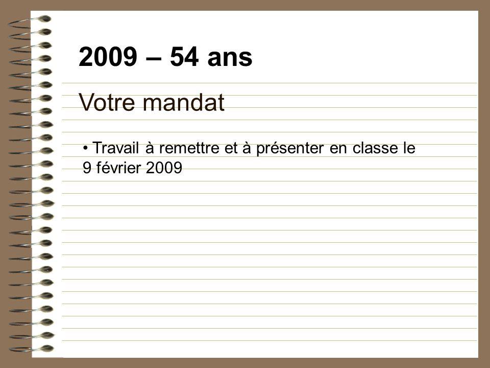 2009 – 54 ans Votre mandat Travail à remettre et à présenter en classe le 9 février 2009