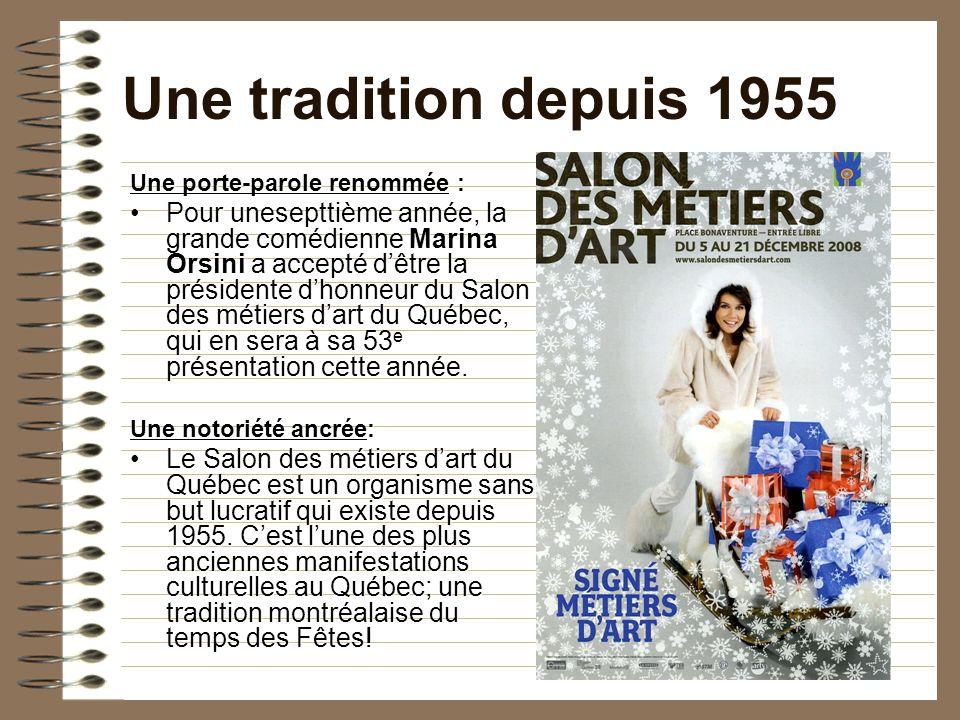 2009 – 54 ans 3.Axe de communication Critères : – lien entre modernité et tradition; – valoriser la contribution des artisans; – élan vers lavenir en illustrant le changement.