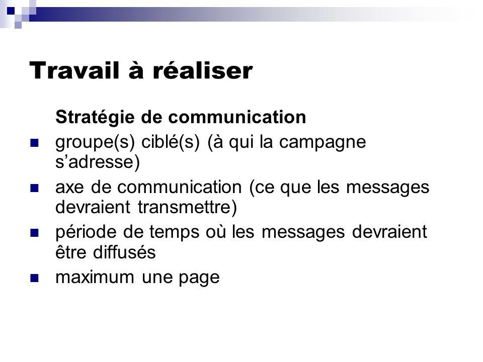 Travail à réaliser Stratégie de communication groupe(s) ciblé(s) (à qui la campagne sadresse) axe de communication (ce que les messages devraient tran