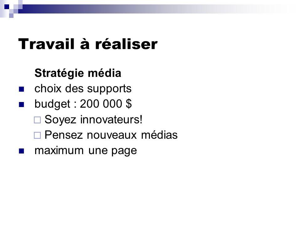 Travail à réaliser Stratégie média choix des supports budget : 200 000 $ Soyez innovateurs! Pensez nouveaux médias maximum une page