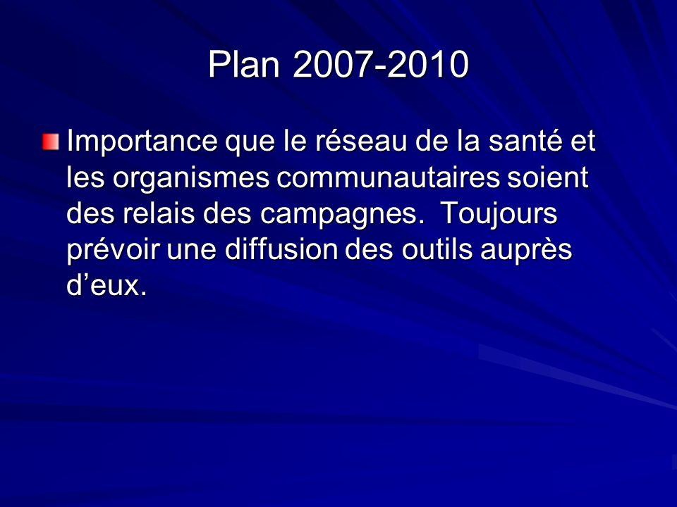 Plan 2007-2010 Importance que le réseau de la santé et les organismes communautaires soient des relais des campagnes.