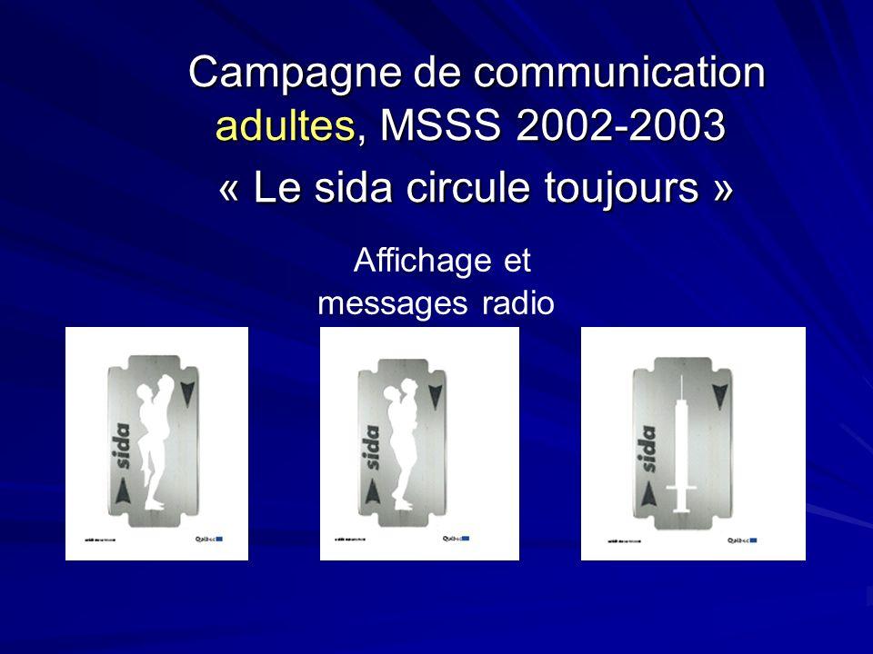Campagne de communication adultes, MSSS 2002-2003 « Le sida circule toujours » Campagne de communication adultes, MSSS 2002-2003 « Le sida circule toujours » Affichage et messages radio