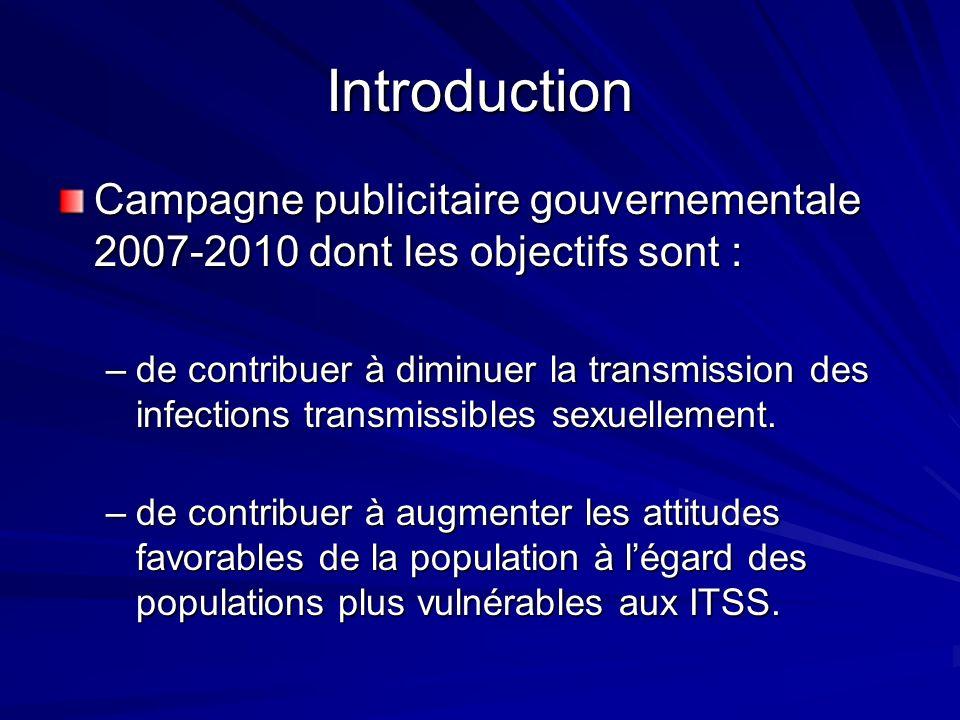 Introduction Campagne publicitaire gouvernementale 2007-2010 dont les objectifs sont : –de contribuer à diminuer la transmission des infections transmissibles sexuellement.