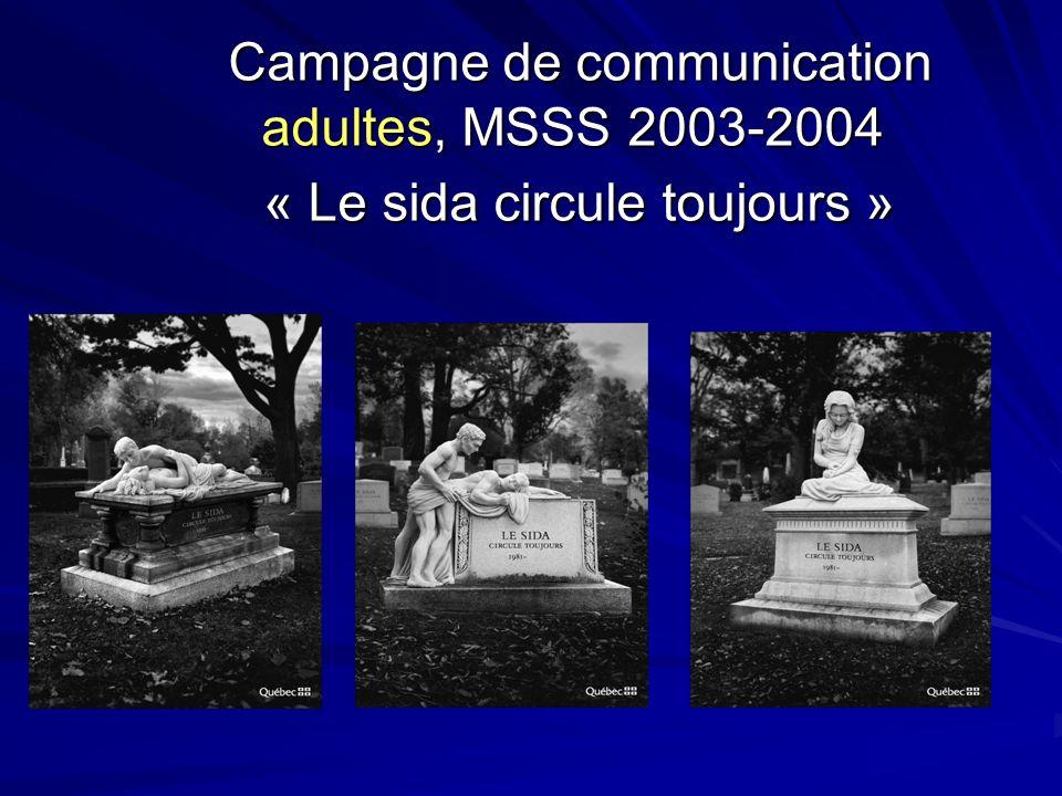 Campagne de communication adultes, MSSS 2003-2004 « Le sida circule toujours » Campagne de communication adultes, MSSS 2003-2004 « Le sida circule toujours »