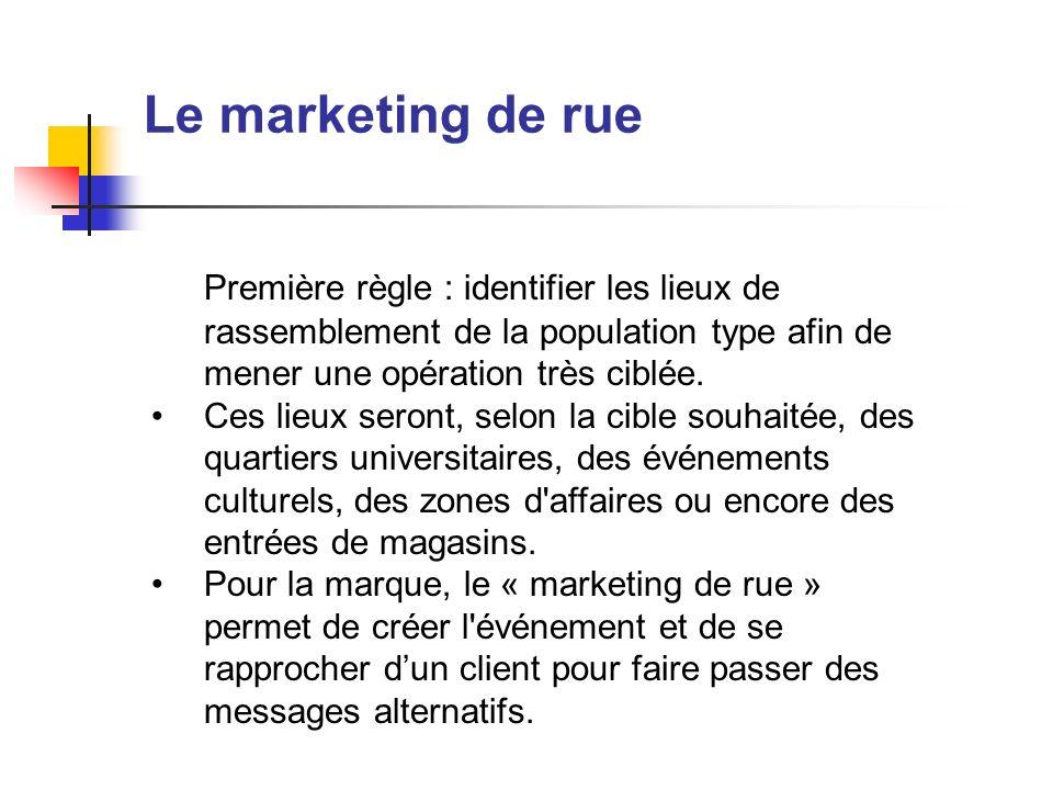 Le marketing de rue Première règle : identifier les lieux de rassemblement de la population type afin de mener une opération très ciblée. Ces lieux se