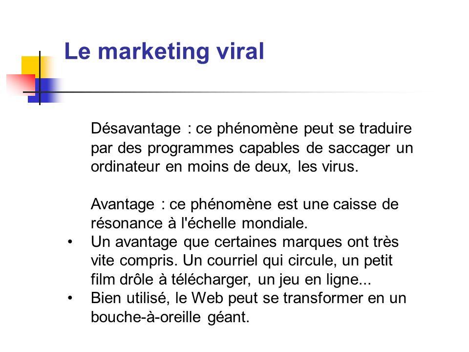 Le marketing viral Désavantage : ce phénomène peut se traduire par des programmes capables de saccager un ordinateur en moins de deux, les virus. Avan