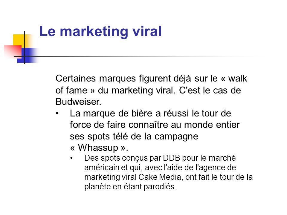 Le marketing viral Certaines marques figurent déjà sur le « walk of fame » du marketing viral. C'est le cas de Budweiser. La marque de bière a réussi