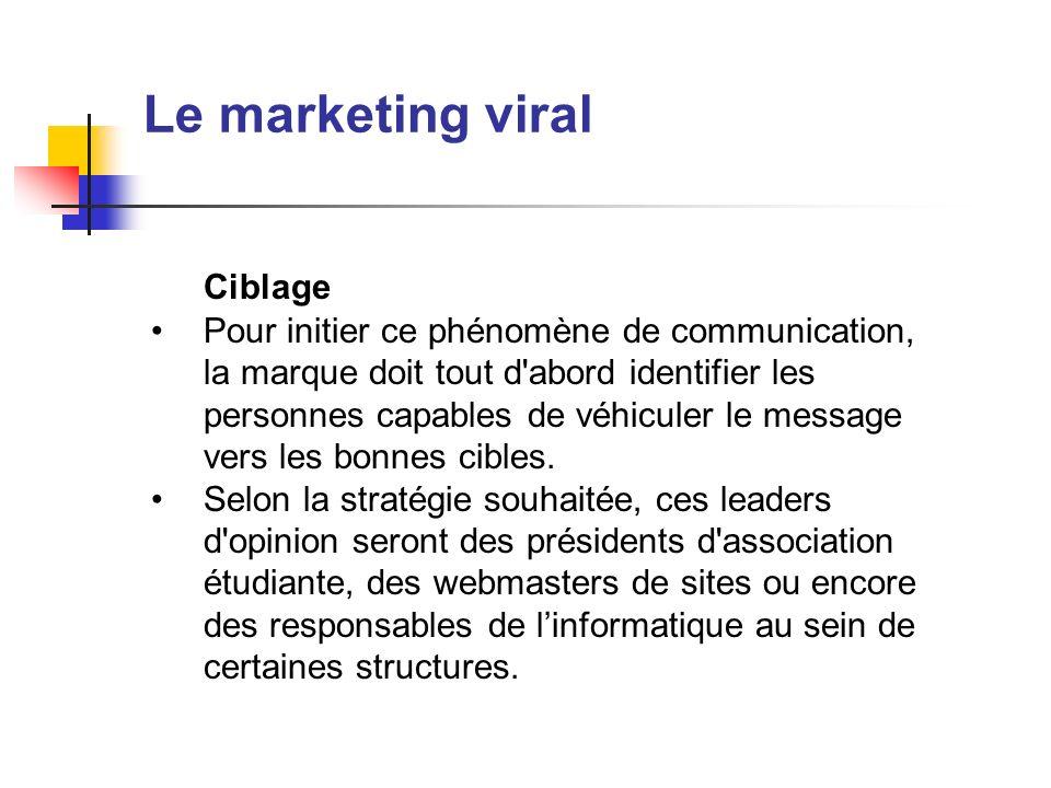 Le marketing viral Ciblage Pour initier ce phénomène de communication, la marque doit tout d'abord identifier les personnes capables de véhiculer le m