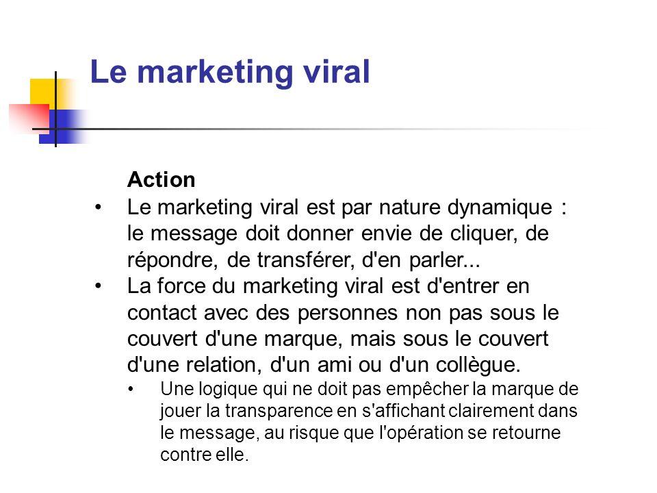 Le marketing viral Action Le marketing viral est par nature dynamique : le message doit donner envie de cliquer, de répondre, de transférer, d'en parl