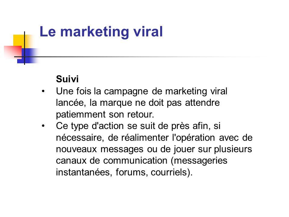 Le marketing viral Suivi Une fois la campagne de marketing viral lancée, la marque ne doit pas attendre patiemment son retour. Ce type d'action se sui