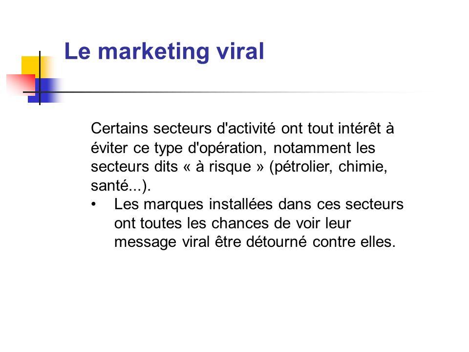 Le marketing viral Certains secteurs d'activité ont tout intérêt à éviter ce type d'opération, notamment les secteurs dits « à risque » (pétrolier, ch