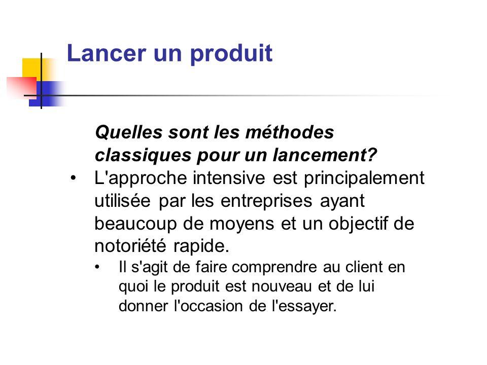 Lancer un produit Quelles sont les méthodes classiques pour un lancement? L'approche intensive est principalement utilisée par les entreprises ayant b